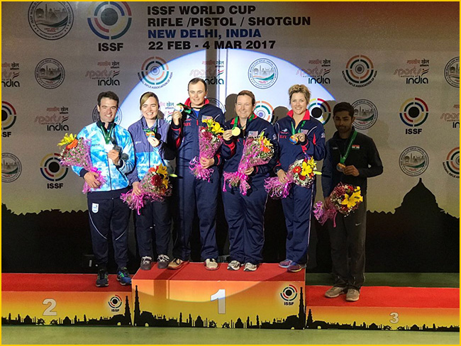 Angad-Haley wins bronze in mixed team skeet event