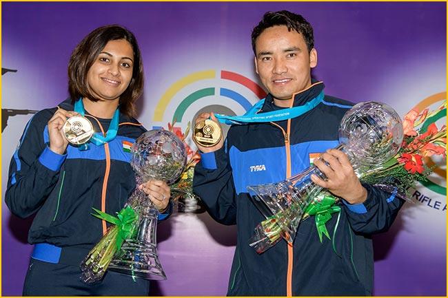 Shooters Jitu Rai and Heena Sidhu win World Cup Final Gold
